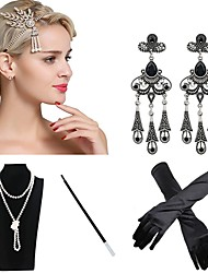 cheap -The Great Gatsby Charleston 1920s The Great Gatsby Roaring 20s Costume Accessory Sets Flapper Headband Women's Tassel Costume Head Jewelry Pearl Necklace Black / Golden / Black & White Vintage Cosplay