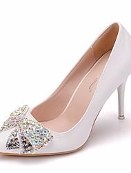 cheap -Women's PU(Polyurethane) Spring &  Fall Sweet Wedding Shoes Stiletto Heel Pointed Toe Rhinestone / Bowknot White