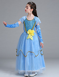 cheap -Elsa Cosplay Costume Flower Girl Dress Kid's Girls' A-Line Slip Dresses Christmas Halloween Carnival Festival / Holiday Tulle Cotton Blue Carnival Costumes Princess / Sleeves / Sleeves