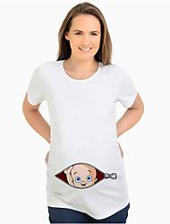 cheap -Women's Daily Basic Maternity T-shirt - Cartoon White