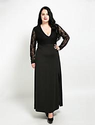 abordables -Femme Grandes Tailles Maxi Trapèze Robe - Dentelle, Mosaïque Col en V Automne Noir XXXXL XXXXXL XXXXXXL Coton Manches Longues