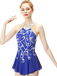 cheap -21Grams Figure Skating Dress Women's Girls' Ice Skating Dress Royal Blue Spandex Stretch Yarn High Elasticity Skating Wear Handmade Fashion Sleeveless Ice Skating Winter Sports Figure Skating