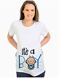 cheap -Women's Maternity Letter T-shirt Street chic Daily White