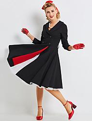 abordables -Audrey Hepburn Rétro Vintage Petite Robe Noire Années 60 Taille de guêpe Robe Femme Costume Noir Vintage Cosplay Manches 3/4 Long