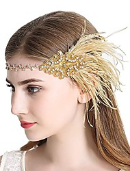 cheap -The Great Gatsby Charleston Vintage 1920s The Great Gatsby Roaring 20s Headpiece Flapper Headband Women's Tassel Costume Head Jewelry Black / Golden Vintage Cosplay Party Prom / Headwear / Headwear