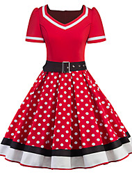 cheap -Audrey Hepburn Polka Dots Retro Vintage 1950s Dress Women's Costume Black / Red Vintage Cosplay Half Sleeve Knee Length / Waist Belt / Waist Belt