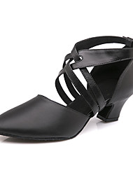 cheap -Women's Modern Shoes / Ballroom Shoes Cowhide Ankle Strap Heel / Sneaker Buckle Cuban Heel Customizable Dance Shoes Black / Performance / Practice