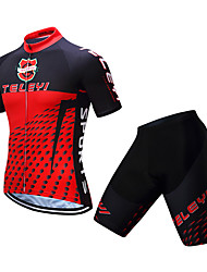 cheap -Men's Short Sleeve Cycling Jersey with Shorts Coolmax® Black / Red Polka Dot Gradient Bike Clothing Suit Breathable 3D Pad Quick Dry Moisture Wicking Reflective Strips Sports Polka Dot Mountain Bike
