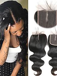 Недорогие -Laflare Бразильские волосы 4x4 Закрытие Волнистый Средняя часть Средняя часть Швейцарское кружево человеческие волосы Remy Жен. Мягкость / Лучшее качество / Новое поступление / Для темнокожих женщин