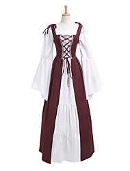 cheap -Queen Retro Vintage Medieval Renaissance Ball Gown Dress Outfits Women's Costume Black / Red / White / White Vintage Cosplay Long Sleeve Ankle Length Floor Length