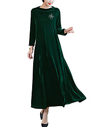 cheap -Women's Plus Size Daily Going out Street chic Elegant Maxi Loose Shift Swing Dress - Solid Colored Fall Velvet Green Black Red XL XXL XXXL