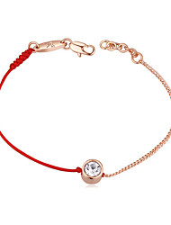 cheap -Bracelet Good Luck Bracelet Crystal Metal Alloy For Women's Round Elegant Simple Style Fashion Gift Daily High Quality Solitaire red rope chain Lucky Wish Bracelet 1pc / Gold Plated
