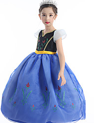 cheap -Anna Cosplay Costume Flower Girl Dress Kid's Girls' A-Line Slip Active Christmas Halloween Carnival Festival / Holiday Silk Organza Blue Carnival Costumes Flower / Cotton