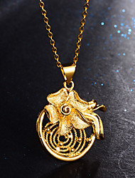 cheap -Women's Pendant Necklace Classic Flower Ladies Stylish Luxury Brass Gold 45 cm Necklace Jewelry 1pc For Party Gift
