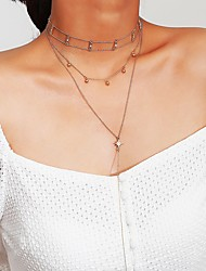 cheap -Women's Y Necklace Harness Necklace Classic Dangling Natural Bohemian Copper Alloy Gold 38 cm Necklace Jewelry 1pc For Prom Valentine