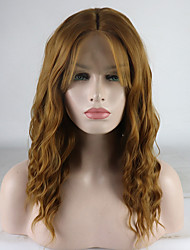 cheap -Synthetic Lace Front Wig Curly Middle Part Lace Front Wig Blonde Short Golden Brown / Ash Blonde Synthetic Hair 12-16 inch Women's Adjustable Lace Heat Resistant Blonde