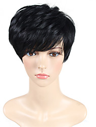 cheap -Synthetic Wig Natural Wave European Layered Haircut Wig Short Black#1B Synthetic Hair 8 inch Women's Classic Synthetic Easy dressing Black