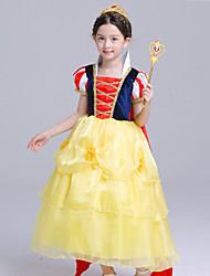 cheap -Princess Cosplay Costume Flower Girl Dress Kid's Girls' A-Line Slip Dresses Mesh Christmas Halloween Carnival Festival / Holiday Silk Organza Yellow Carnival Costumes Lace / Cotton