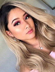 cheap -Remy Human Hair Full Lace Lace Front Wig Asymmetrical Kardashian style Brazilian Hair Straight Golden Wig 130% 150% 180% Density Fashionable Design Soft Women Comfortable curling Women's Long Human