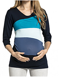 cheap -Women's Maternity Color Block T-shirt Basic Daily White / Blue / Red