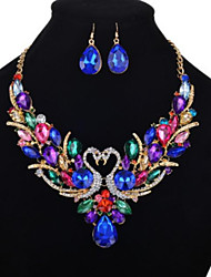 cheap -Women's Multicolor Cubic Zirconia Pendant Necklace Dangle Earrings Tennis Chain Swan Luxury Unique Design Imitation Diamond Earrings Jewelry Rainbow For Party Festival 1 set