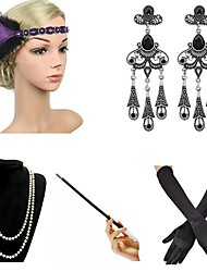 cheap -The Great Gatsby Charleston 1920s The Great Gatsby Costume Accessory Sets Flapper Headband Women's Tassel Fringe Costume Head Jewelry Pearl Necklace Black / Blue / Black / Red / black Vintage Cosplay