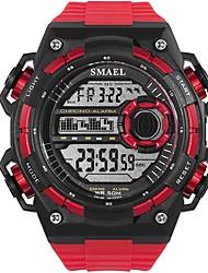 Недорогие -Муж. Спортивные часы электронные часы Цифровой Крупногабаритные Стеганная ПУ кожа Черный / Белый / Красный Защита от влаги Фосфоресцирующий Крупный циферблат Цифровой На каждый день Мода -