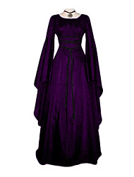cheap -Cosplay Vintage Vintage Inspired Medieval Ball Gown Costume Women's Costume Black / White / Purple Vintage Cosplay Long Sleeve Floor Length / Dress / Dress