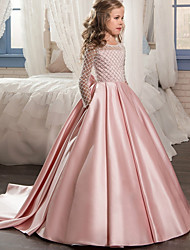cheap -Ball Gown / Princess Sweep / Brush Train Flower Girl Dress - Polyester Long Sleeve Jewel Neck with Lace / Formal Evening