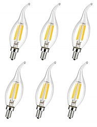 cheap -6pcs 4 W LED Filament Bulbs 360 lm E14 C35L 4 LED Beads COB Decorative Warm White Cold White 220-240 V / RoHS