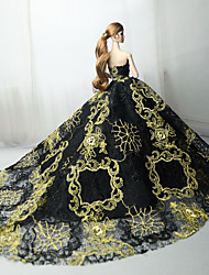 cheap -Doll Dress Party / Evening Dresses For Barbiedoll Lace Black Tulle Lace Cotton Blend Dress For Girl's Doll Toy