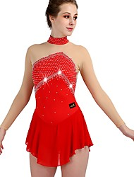 cheap -Figure Skating Dress Crystals / Rhinestones Women's Girls' Training Long Sleeve High Chinlon Tulle