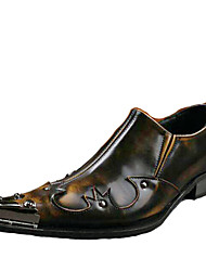 cheap -Men's Novelty Shoes Leather Spring / Summer Vintage Oxfords Brown / Wedding / Party & Evening / Rivet / Party & Evening / Comfort Shoes