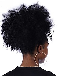 cheap -Afro Kinky Curly Ponytail For Women Natural Black Remy Hair 1 Piece Clip In Ponytails Drawstring 100% Human Hair Dolago Products
