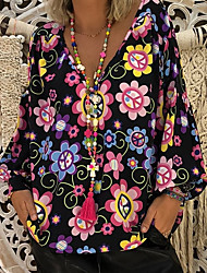 cheap -Women's Daily Basic Plus Size Blouse - Floral / Print / Fashion Tropical Shirt Collar Black / Spring / Summer / Fall / Winter