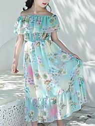cheap -Kids Girls' Sweet Boho Daily Beach Floral Ruffle Print Sleeveless Dress Blue