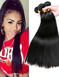 cheap -3 Bundles Indian Hair Straight Human Hair Wig Accessories Natural Color Hair Weaves / Hair Bulk Hair Care 8-28 inch Natural Color Human Hair Weaves Smooth Best Quality Fashion Human Hair Extensions
