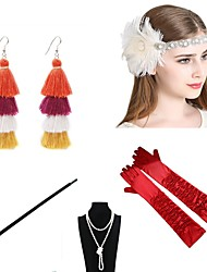 cheap -The Great Gatsby Charleston 1920s The Great Gatsby Costume Accessory Sets Flapper Headband Women's Tassel Costume Head Jewelry Pearl Necklace Black / Red black / White Vintage Cosplay / Gloves