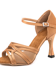 cheap -Women's Dance Shoes Latin Shoes / Ballroom Shoes / Line Dance Sandal Sneaker Buckle Slim High Heel Customizable Brown / Performance / Satin / Leather / EU37
