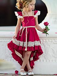 Недорогие -Дети Девочки Уличный стиль Для вечеринок Однотонный Кружева Без рукавов Ассиметричное Платье Красный