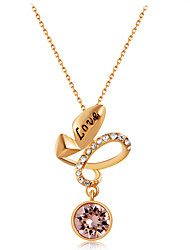 cheap -Women's Clear Crystal Pendant Necklace Mismatched Love Romantic Fashion Elegant Gold Plated Imitation Diamond Alloy Gold 50 cm Necklace Jewelry 1pc For Daily Formal