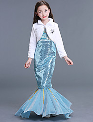 cheap -The Little Mermaid Aqua Princess Dress Flower Girl Dress Kid's Girls' A-Line Slip Mermaid and Trumpet Gown Slip Halloween Carnival Masquerade Festival / Holiday Sequin Terylene LightBlue Carnival
