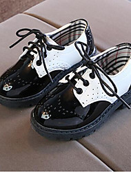 cheap -Boys' Comfort PU Oxfords Toddler(9m-4ys) / Little Kids(4-7ys) / Big Kids(7years +) Lace-up Black / White Spring &  Fall