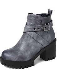 cheap -Women's PU(Polyurethane) Winter Boots Chunky Heel Closed Toe Booties / Ankle Boots Black / Beige / Gray