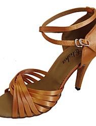 cheap -Women's Dance Shoes Satin Latin Shoes Heel Flared Heel Customizable Pink / Navy / Almond / EU38