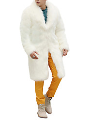 cheap -Men's Weekend Winter Long Coat, Solid Colored Shawl Lapel Long Sleeve Faux Fur White / Black / Brown / Loose