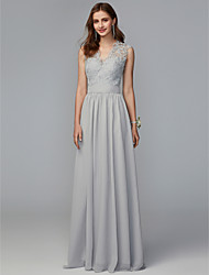 cheap -A-Line V Neck Sweep / Brush Train Chiffon / Lace Bridesmaid Dress with Lace / Pleats / Open Back