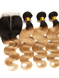 cheap -3 Bundles with Closure Brazilian Hair Body Wave Remy Human Hair Human Hair Extensions Hair Weft with Closure 10-24 inch Human Hair Weaves Soft Best Quality New Arrival Human Hair Extensions