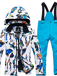 cheap -ARCTIC QUEEN Boys' Girls' Ski Jacket with Pants Skiing Camping / Hiking Snowboarding Windproof Warm Breathability POLY Eco-friendly Polyester Tracksuit Bib Pants Top Ski Wear / Winter