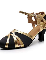 cheap -Women's Modern Shoes Ballroom Shoes Heel Splicing Cuban Heel Black / Gold Red Ankle Strap / Performance / Practice